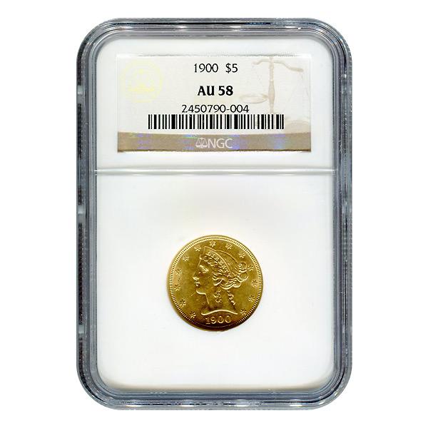 Certified $5 Gold Liberty 1900 AU58 NGC