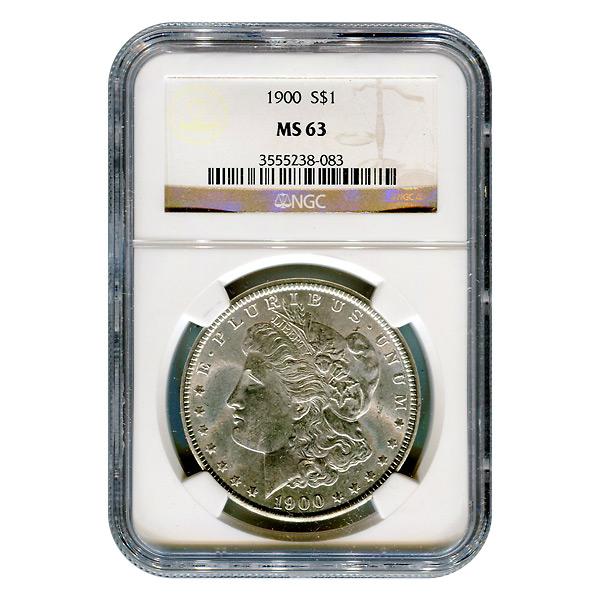 Certified Morgan Silver Dollar 1900 MS63 NGC