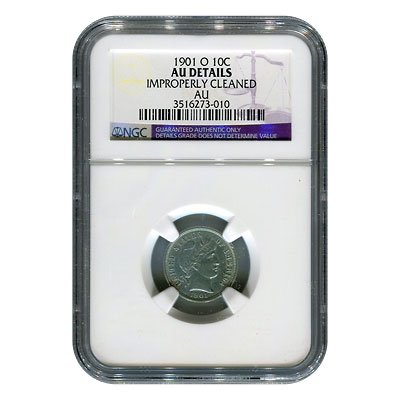 Certified Barber Dime 1901-O AU Details (Improperly Cleaned) NGC