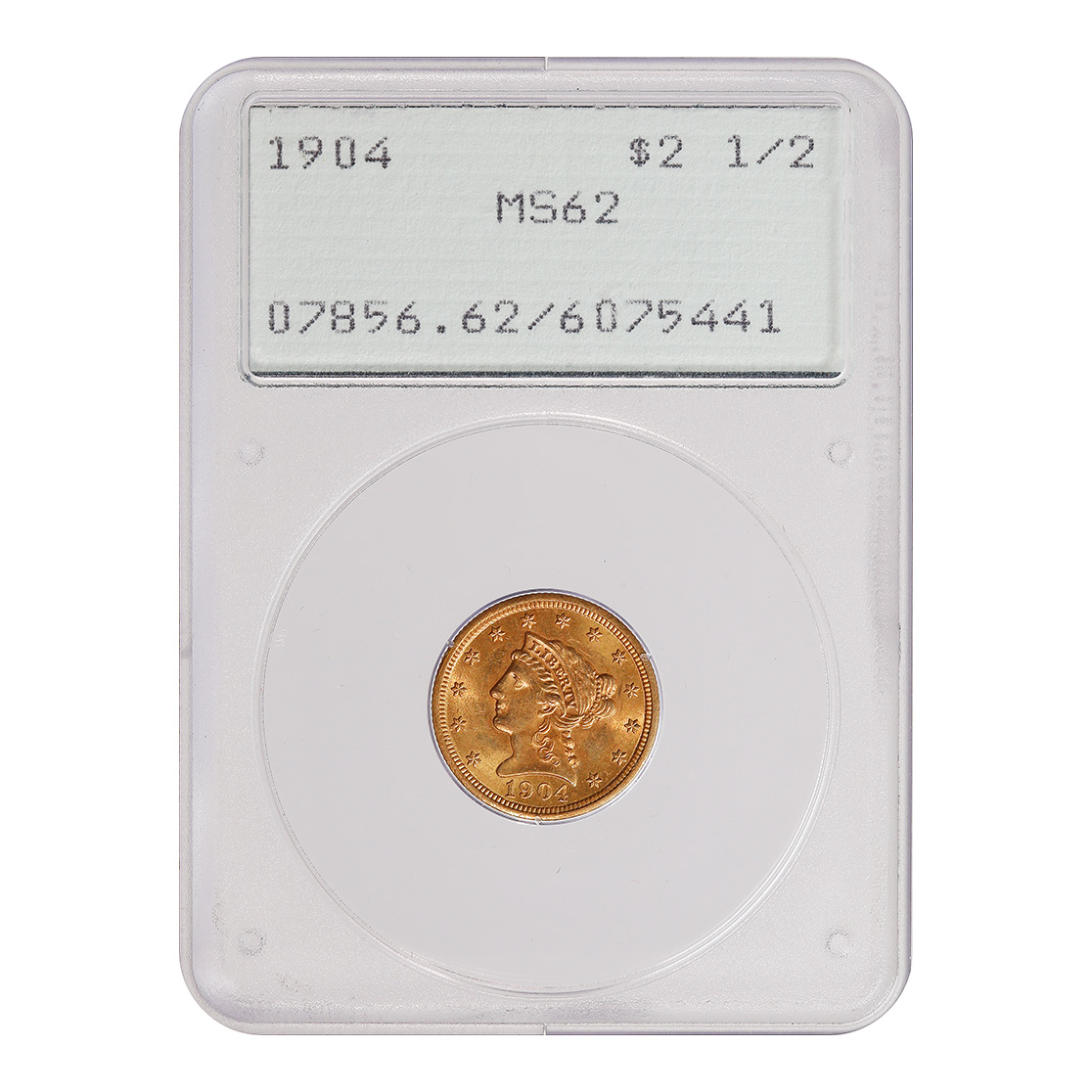 Certified $2.5 Gold Liberty 1904 MS62 PCGS Rattler