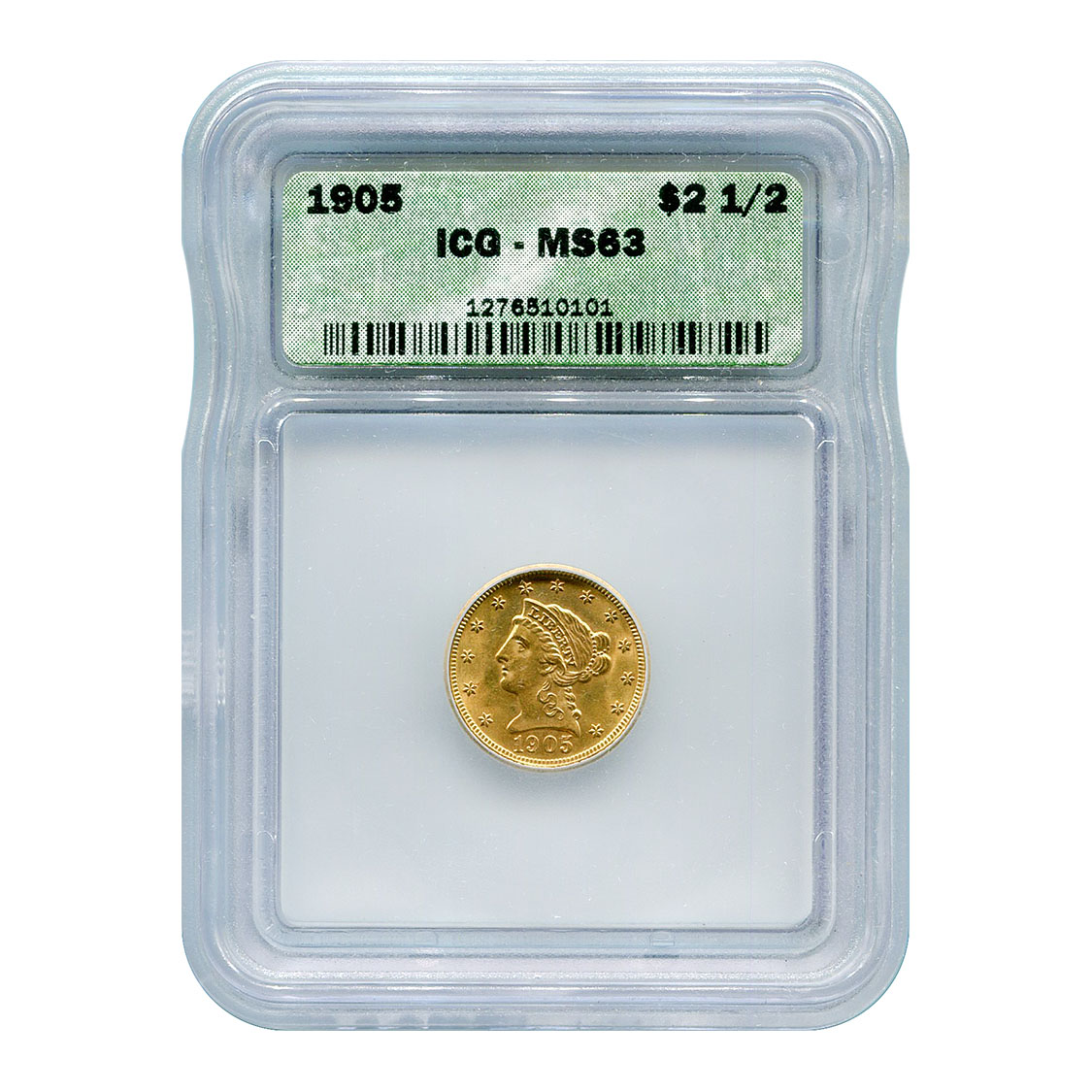 Certified $2.5 Gold Liberty 1905 MS63 ICG