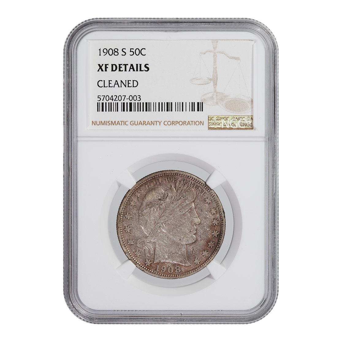 """Certified Barber Half Dollar 1908-S XF Details """"Cleaned"""" NGC"""