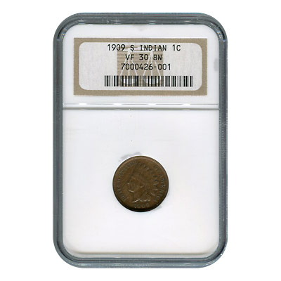 Certified Indian Head Cent 1909-S VF30BN NGC