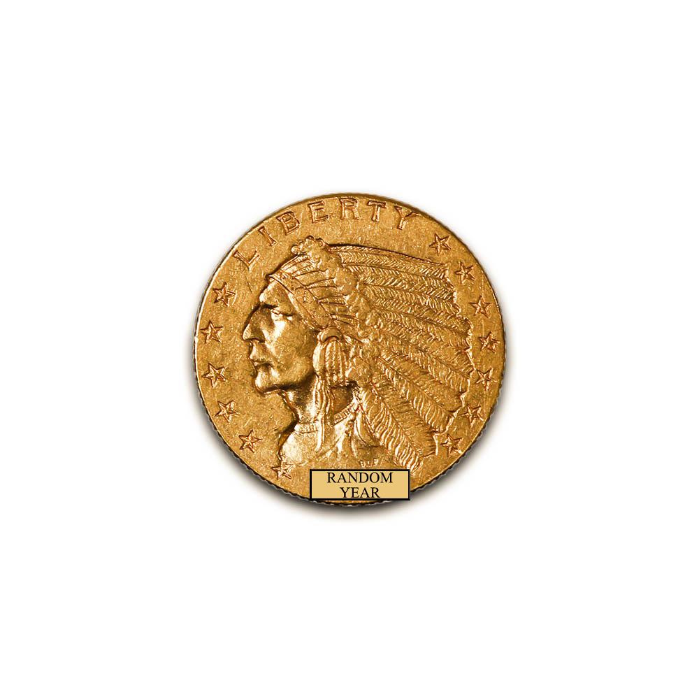 Early Gold Bullion $2.5 Indian Extra Fine