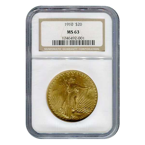 Certified $20 St Gaudens 1910 MS63 NGC