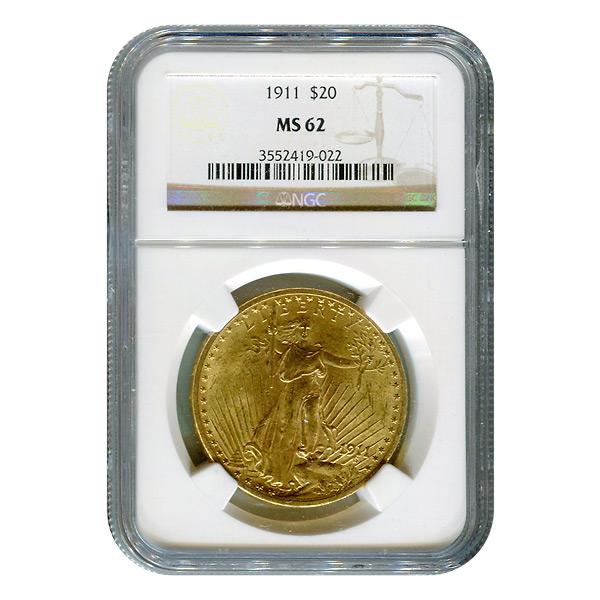Certified $20 St Gaudens 1911 MS62 NGC