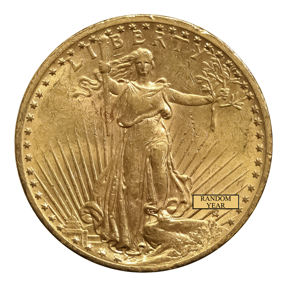 Early Gold Bullion $20 Saint Gaudens Almost Uncirculated