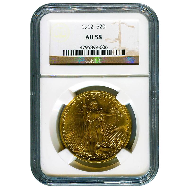 Certified $20 St Gaudens 1912 AU58 NGC