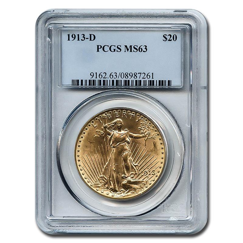 Certified $20 St Gaudens 1913-D MS63 PCGS