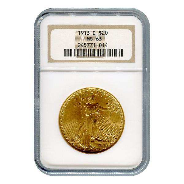 Certified $20 St Gaudens 1913-D MS63 NGC