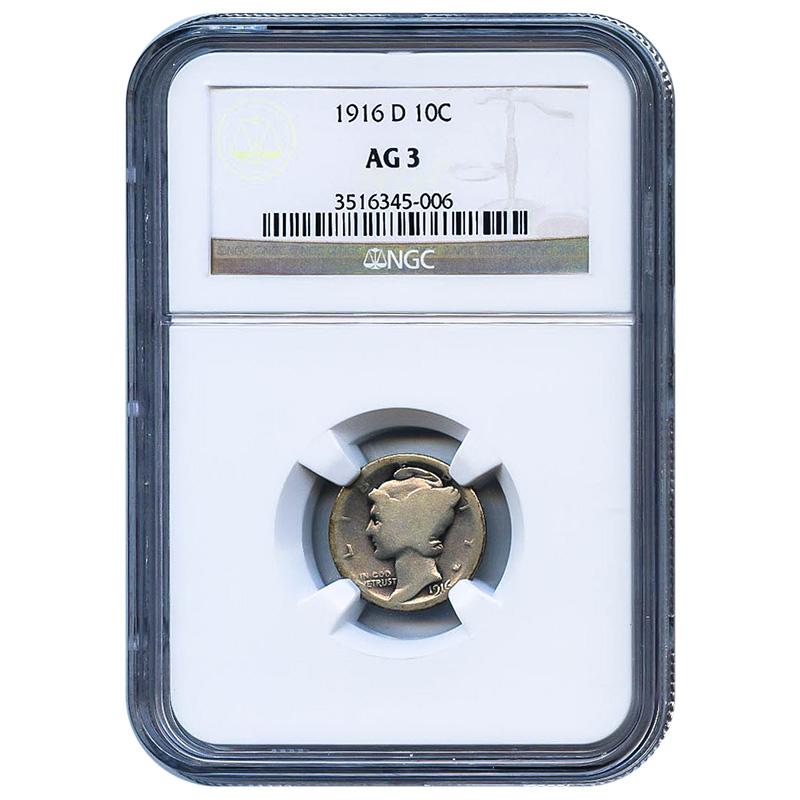 Certified Mercury Dime 1916-D AG3 NGC