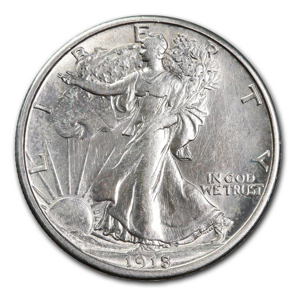 Walking Liberty Half Dollar 1918-S AU