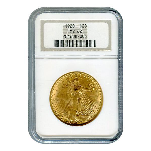 Certified $20 St Gaudens 1920 MS62 NGC