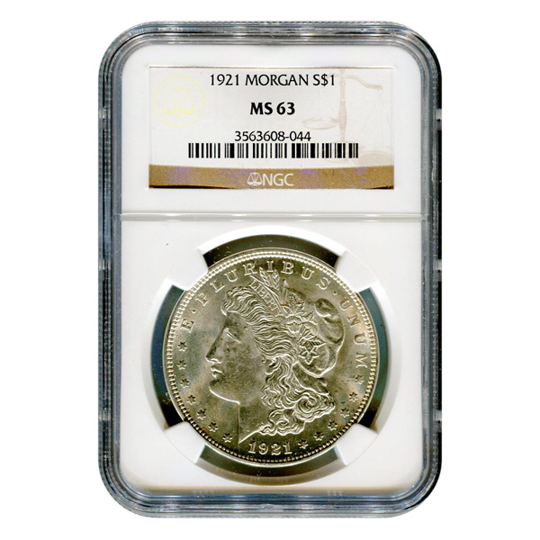 Certified Morgan Silver Dollar 1921 MS63 NGC