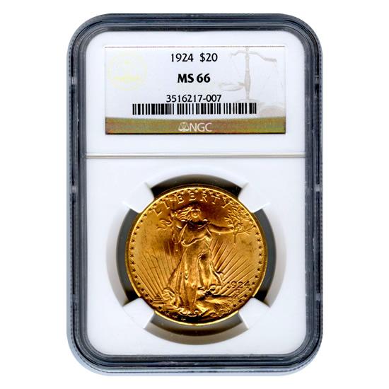 Certified $20 St Gaudens 1924 MS66 NGC
