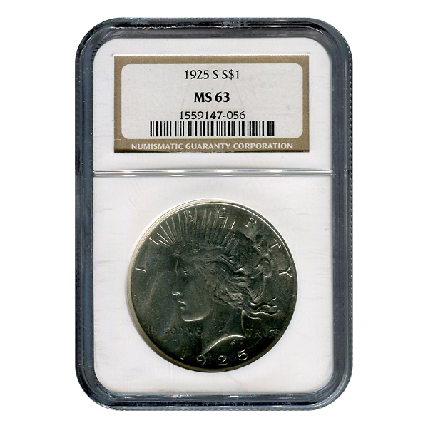 Certified Peace Silver Dollar 1925-S MS63 NGC