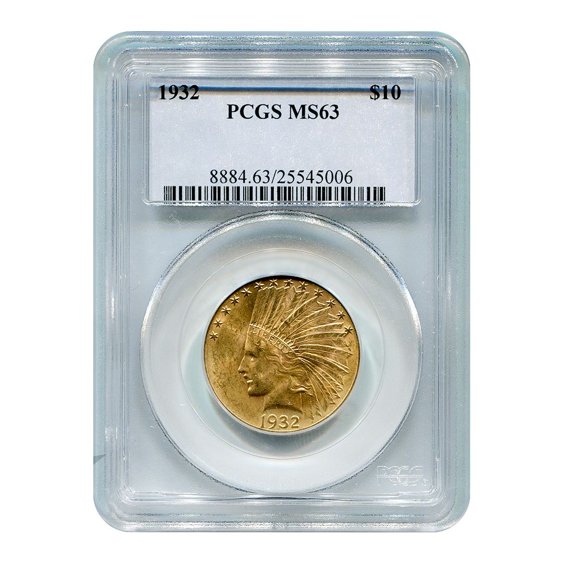 Certified US Gold $10 Indian 1932 MS63 PCGS