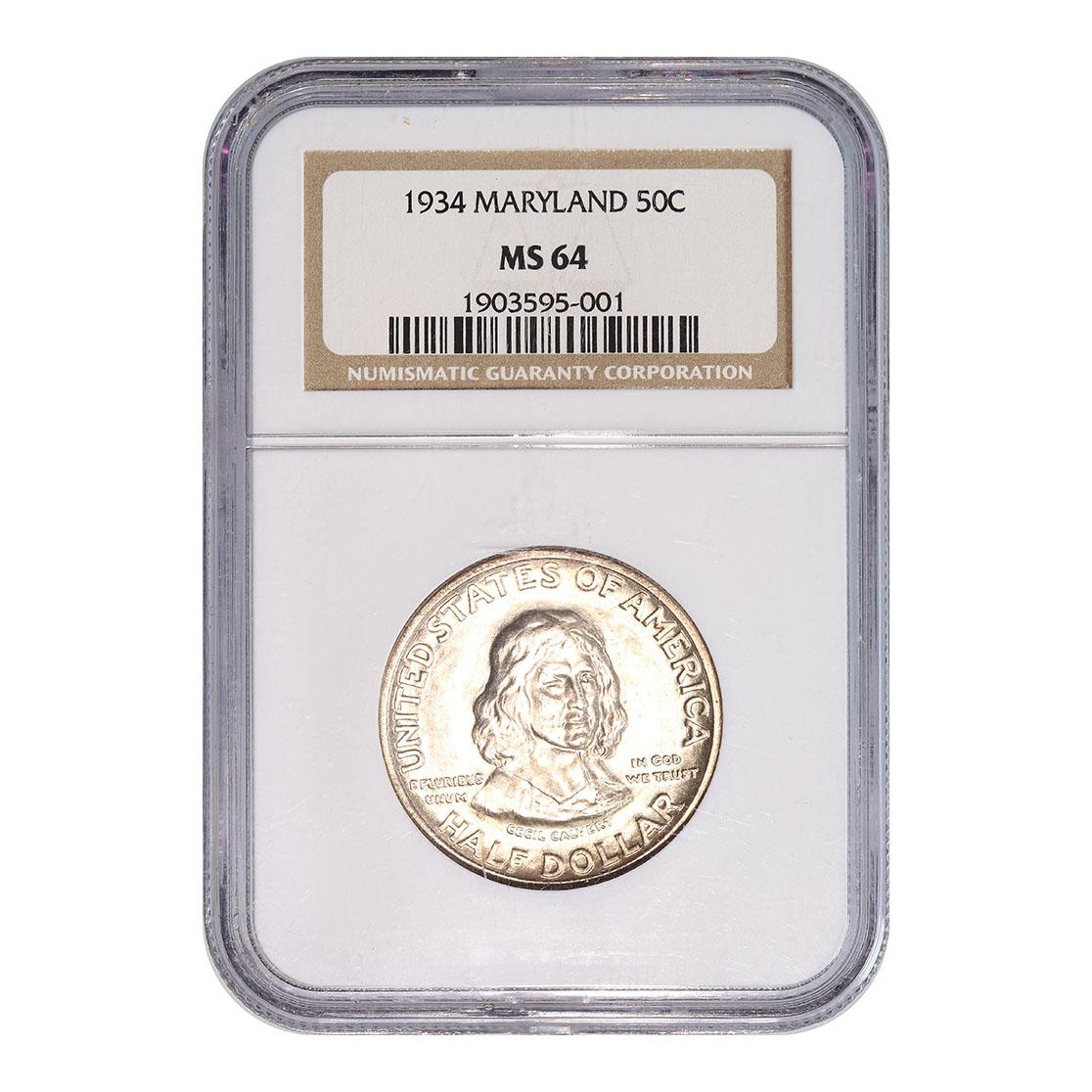 Certified Commemorative Half Dollar Maryland 1934 MS64 NGC