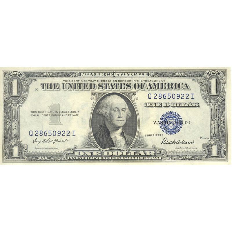 1935F $1 Silver Certificate UNC