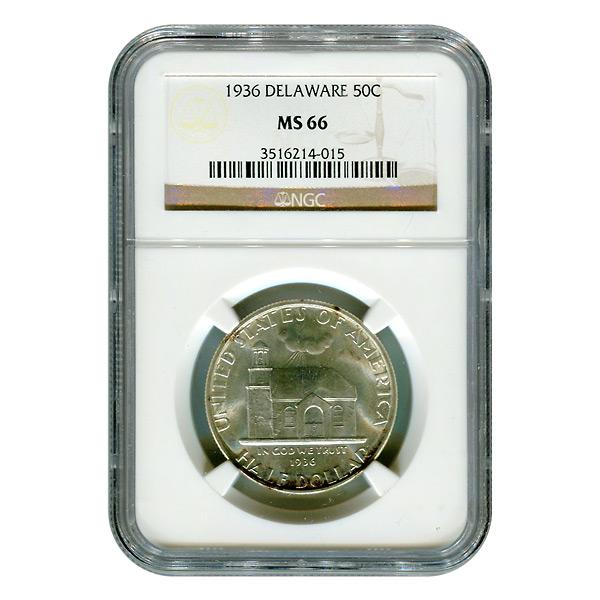 Certified Commemorative Half Dollar Delaware MS66 NGC