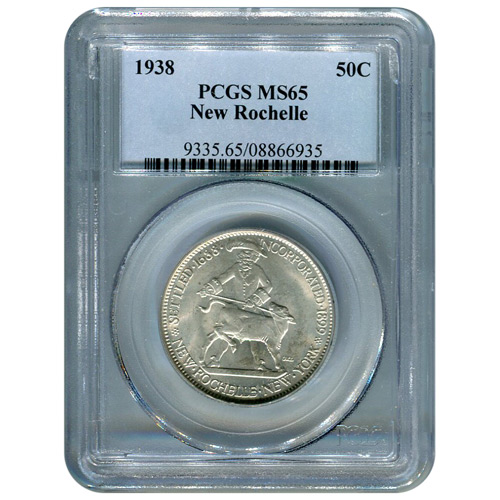 Certified Commemorative Half Dollar New Rochelle 1938 MS65 PCGS