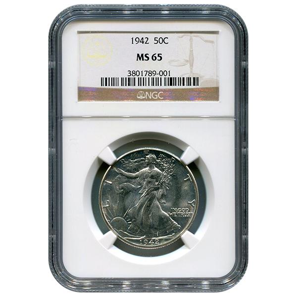 Certified Walking Liberty Half Dollar 1942 MS65 NGC