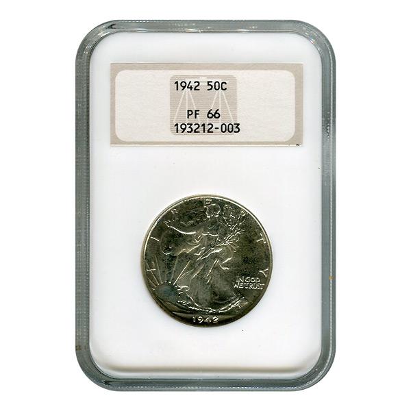 Certified Walking Liberty Half Dollar 1942 PF66 NGC