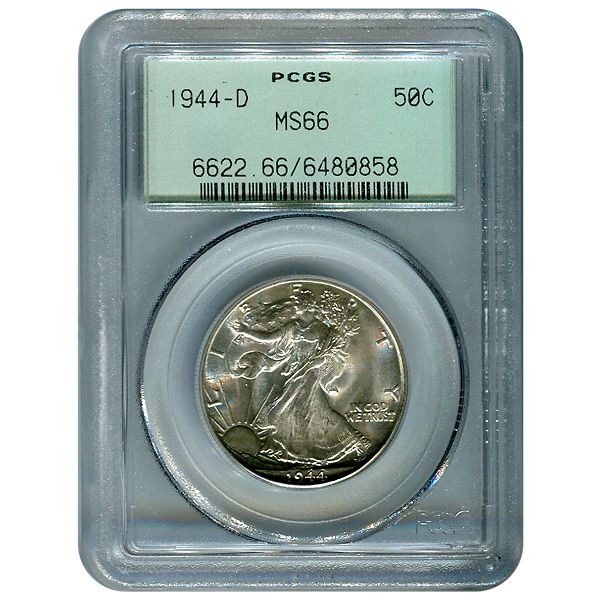 Certified Walking Liberty Half Dollar 1944-D MS66 PCGS