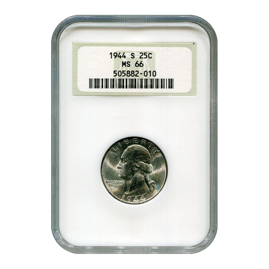 Certified Washington Quarter 1944-S MS66 NGC