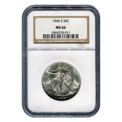 Certified Walking Liberty Half Dollar 1945-S MS66 NGC
