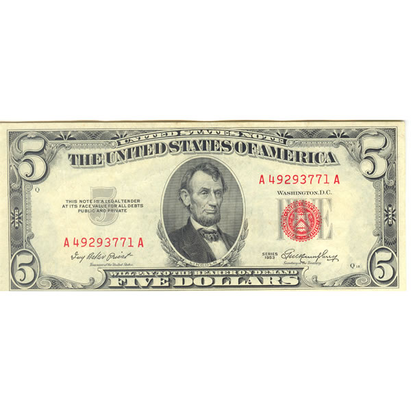 1953 series $5 red seal note XF-AU