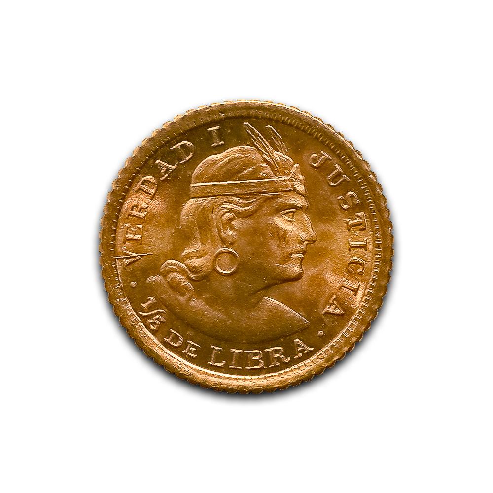 Peru 1/5 libra gold 1906-1969