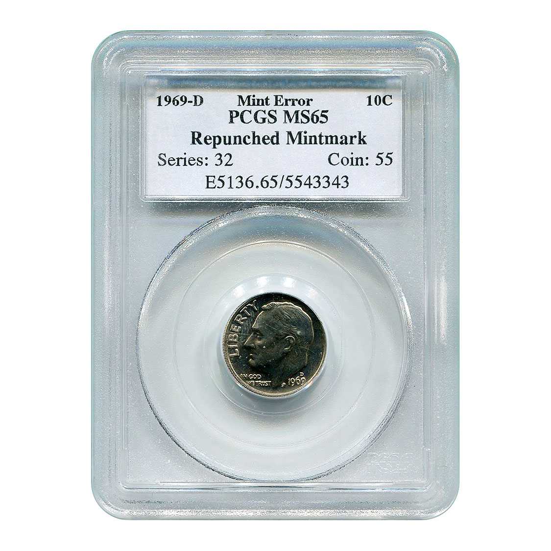 Certified Roosevelt Dime 1969-D Repunched Mintmark MS65 PCGS