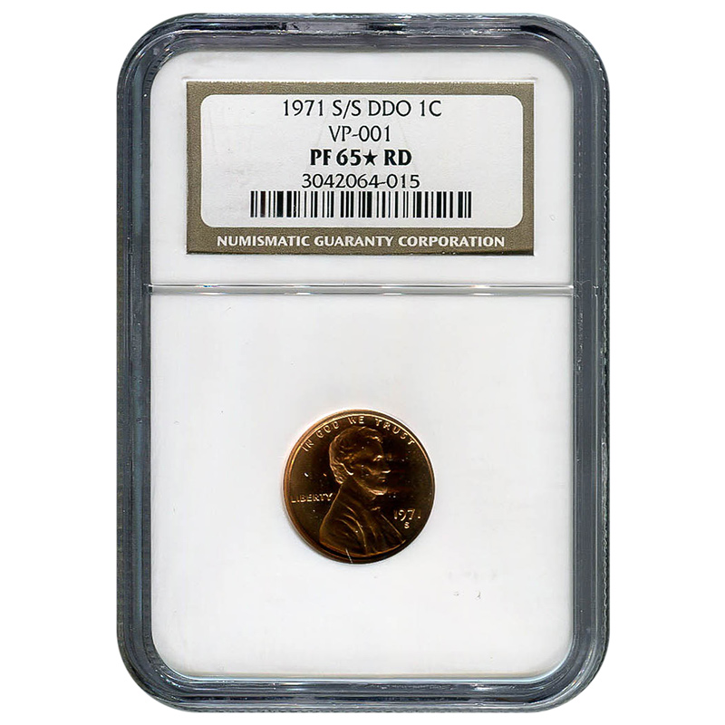 Certified Lincoln Cent 1971 S/S DDO PF65* RD NGC