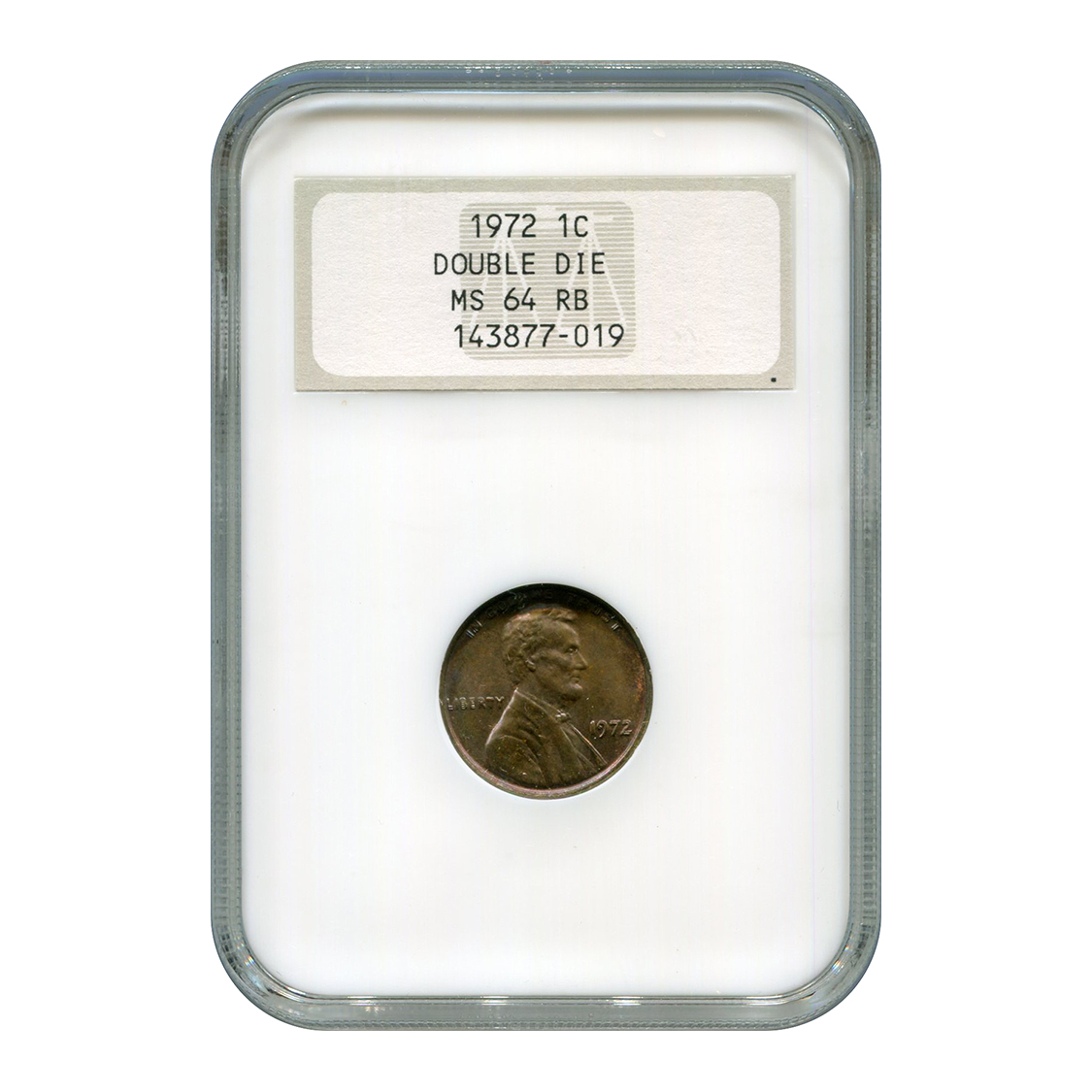 Certified Lincoln Cent 1972 MS64 RB NGC Double Die