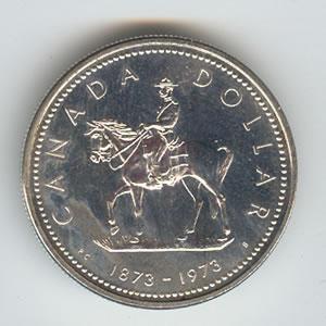 Canada 1973 silver dollar Mountie