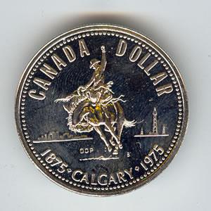 Canada 1975 silver dollar Calgary Centennial