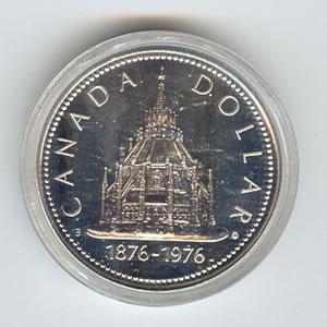 Canada 1976 Library of Parliament Centennial Silver Dollar