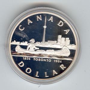 Canada 1984 silver dollar Toronto