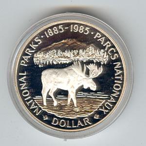 Canada 1985 silver dollar National Parks