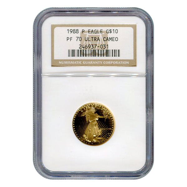 Certified Proof American Gold Eagle $10 1988 PF70 NGC