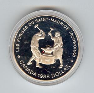 Canada 1988 silver dollar Ironworks