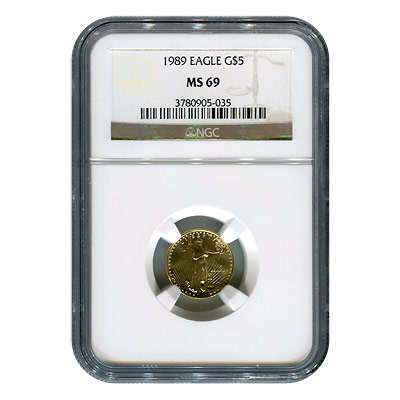 Certified American $5 Gold Eagle 1989 MS69 NGC