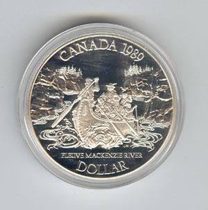 Canada 1989 silver dollar MacKenzie River
