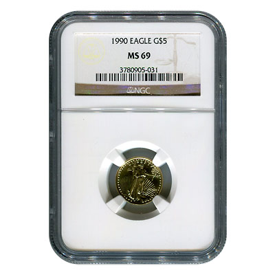 Certified American $5 Gold Eagle 1990 MS69 NGC
