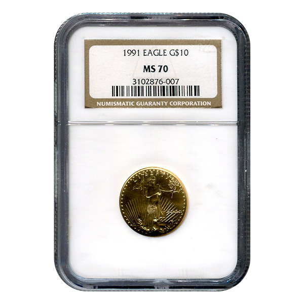 Certified American $10 Gold Eagle 1991 MS70 NGC