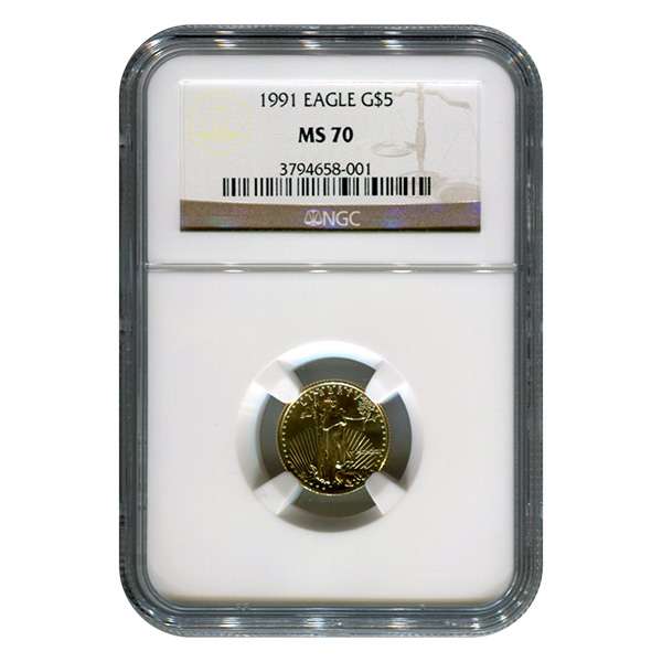 Certified American $5 Gold Eagle 1991 MS70 NGC