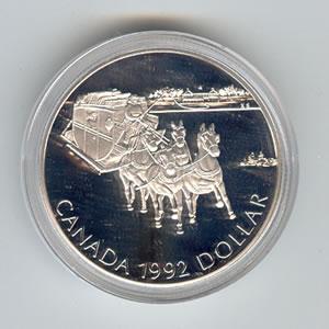 Canada 1992 silver dollar Stagecoach