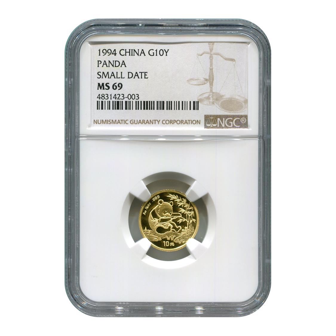 Certified Tenth Ounce Chinese Gold Panda 1994 Small Date 10 Yuan MS69 NGC