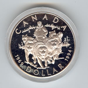Canada 1994 silver dollar sled-dogs